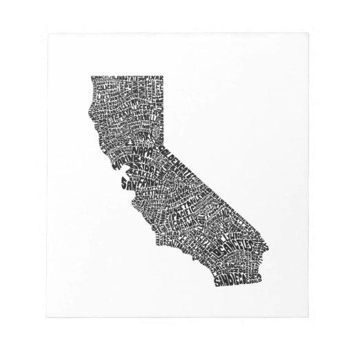 Mapa de la tipografía de California Blocs De Notas