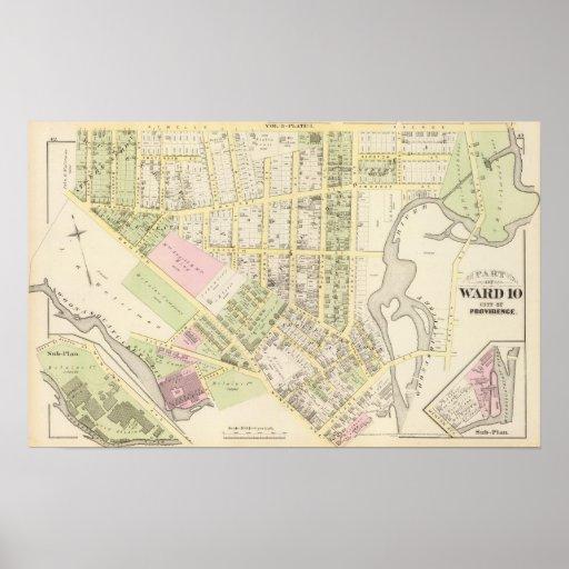 Mapa de lana del atlas de los molinos de la orilla póster