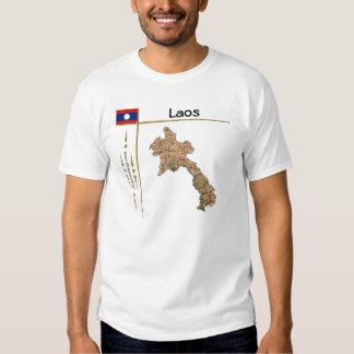 Mapa de Laos + Bandera + Camiseta del título Remeras