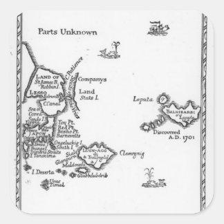 Mapa de Laputa, Balnibari, Luggnagg Pegatina Cuadrada