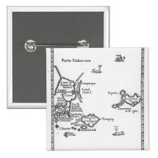 Mapa de Laputa, Balnibari, Luggnagg Pin Cuadrada 5 Cm