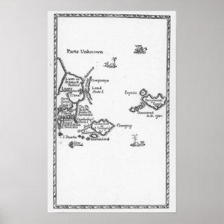 Mapa de Laputa, Balnibari, Luggnagg Póster