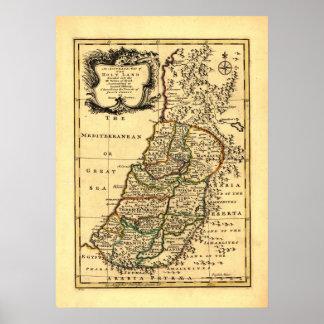 Mapa de las 12 tribus de Israel antiguo, (1752) Póster