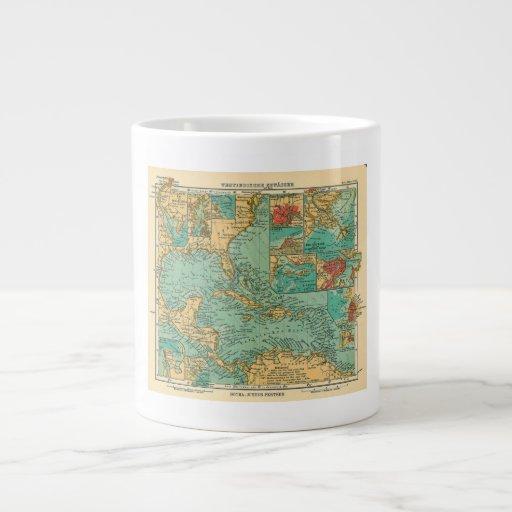 Mapa de las Antillas a partir de 1906 en alemán Taza Grande