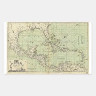 Mapa de las Antillas de Guillermo Guthrie (1777) Pegatina Rectangular