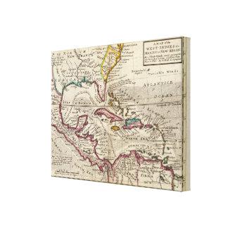Mapa de las Antillas, del México o de la nueva Esp Impresion De Lienzo