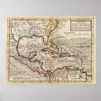 Mapa de las Antillas, del México o de la nueva Esp Posters
