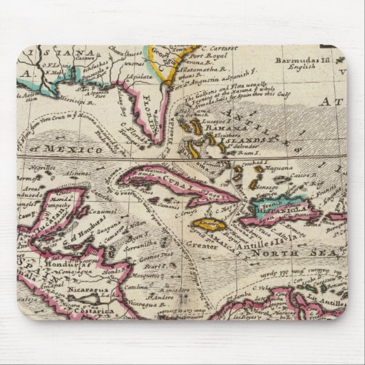 Mapa de las Antillas, del México o de la nueva Esp Alfombrilla De Raton