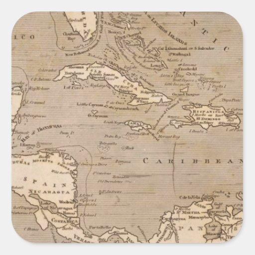 Mapa de las Antillas por Arrowsmith Pegatina Cuadrada