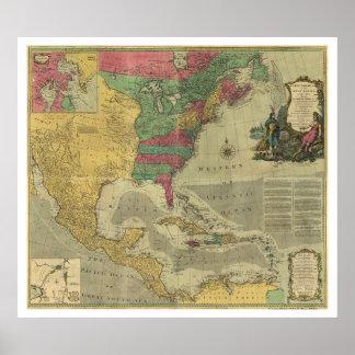 Mapa de las Antillas y de Norteamérica - 1774 Póster
