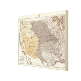 Mapa de las áreas de drenaje de los E.E.U.U. Impresion De Lienzo