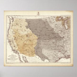 Mapa de las áreas de drenaje de los E.E.U.U. Impresiones