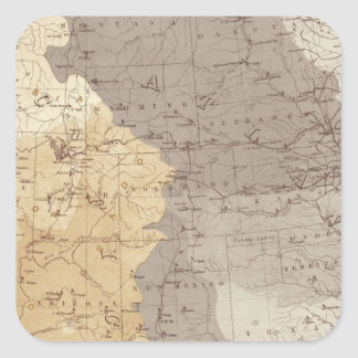 Mapa de las áreas de drenaje de los E.E.U.U. Pegatina Cuadrada