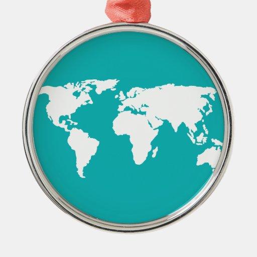 mapa de las azules turquesas adornos de navidad