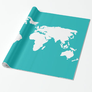 mapa de las azules turquesas papel de regalo