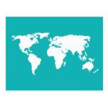 mapa de las azules turquesas postales