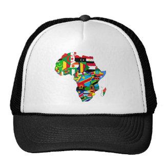 Mapa de las banderas de África - regalo africano d Gorros Bordados