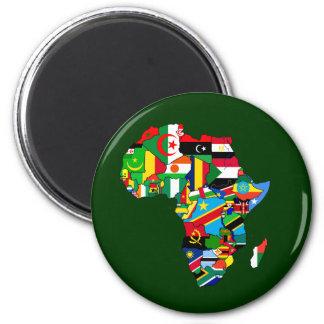 Mapa de las banderas de África - regalo africano d Imán Redondo 5 Cm