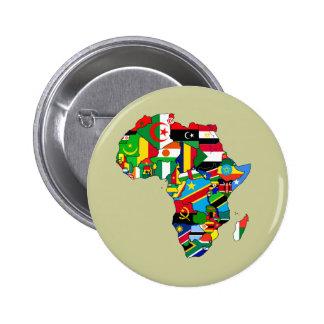 Mapa de las banderas de África - regalo africano d Pin Redondo De 2 Pulgadas