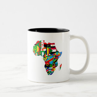 Mapa de las banderas de África - regalo africano d Taza De Café