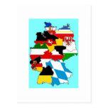 Mapa de las banderas del estado de Alemania Tarjeta Postal
