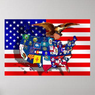 Mapa de las banderas del estado de los E E U U de Poster