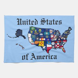Mapa de las banderas del estado de los E.E.U.U. Toalla De Mano