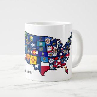 Mapa de las banderas del estado de los E.E.U.U. Taza Grande