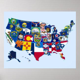 Mapa de las banderas del estado de los Estados Uni Póster