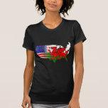 Mapa de las banderas Galés del americano Camisetas