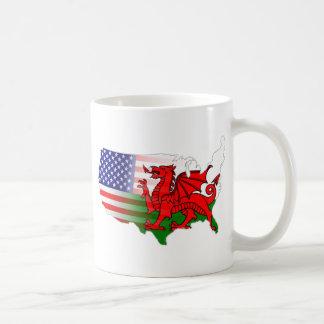 Mapa de las banderas Galés del americano Tazas De Café