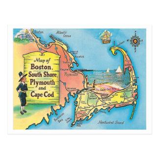 Mapa de las ciudades de Massachusetts del vintage Tarjetas Postales