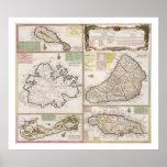 Mapa de las colonias inglesas en el Caribe, pub. p Posters