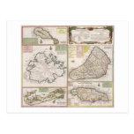 Mapa de las colonias inglesas en el Caribe, pub. p Tarjetas Postales
