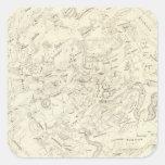 Mapa de las constelaciones 2 calcomanias cuadradas