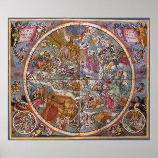 Mapa de las constelaciones cristianas, cielos póster