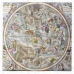Mapa de las constelaciones cristianas según lo rep azulejo cuadrado grande