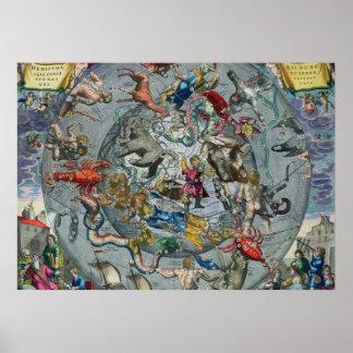 Mapa de las constelaciones del septentrional póster