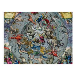 Mapa de las constelaciones del septentrional tarjetas postales