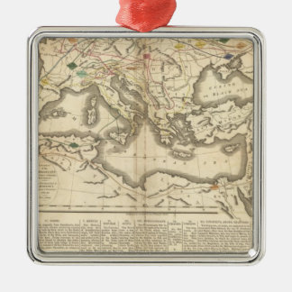 Mapa de las incursiones de los bárbaros adorno cuadrado plateado