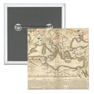 Mapa de las incursiones de los bárbaros pin cuadrada 5 cm