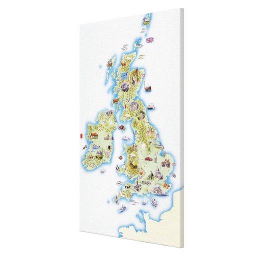 Mapa de las islas británicas 2 impresión en lienzo
