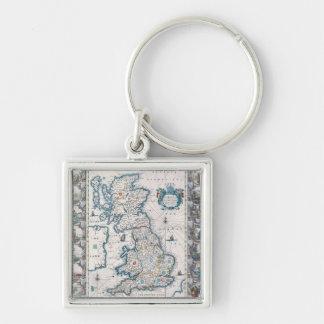 Mapa de las islas británicas 2 llavero cuadrado plateado
