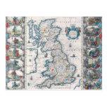 Mapa de las islas británicas 2 tarjetas postales