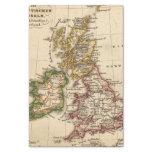 Mapa de las islas británicas papel de seda pequeño