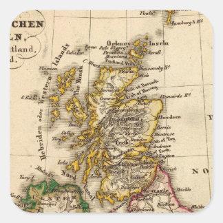 Mapa de las islas británicas pegatina cuadrada