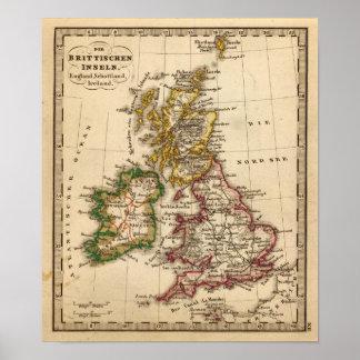 Mapa de las islas británicas poster