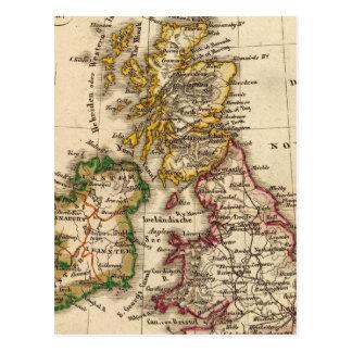 Mapa de las islas británicas tarjetas postales