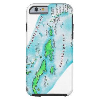 Mapa de las islas caribeñas funda de iPhone 6 tough