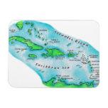 Mapa de las islas caribeñas imanes rectangulares